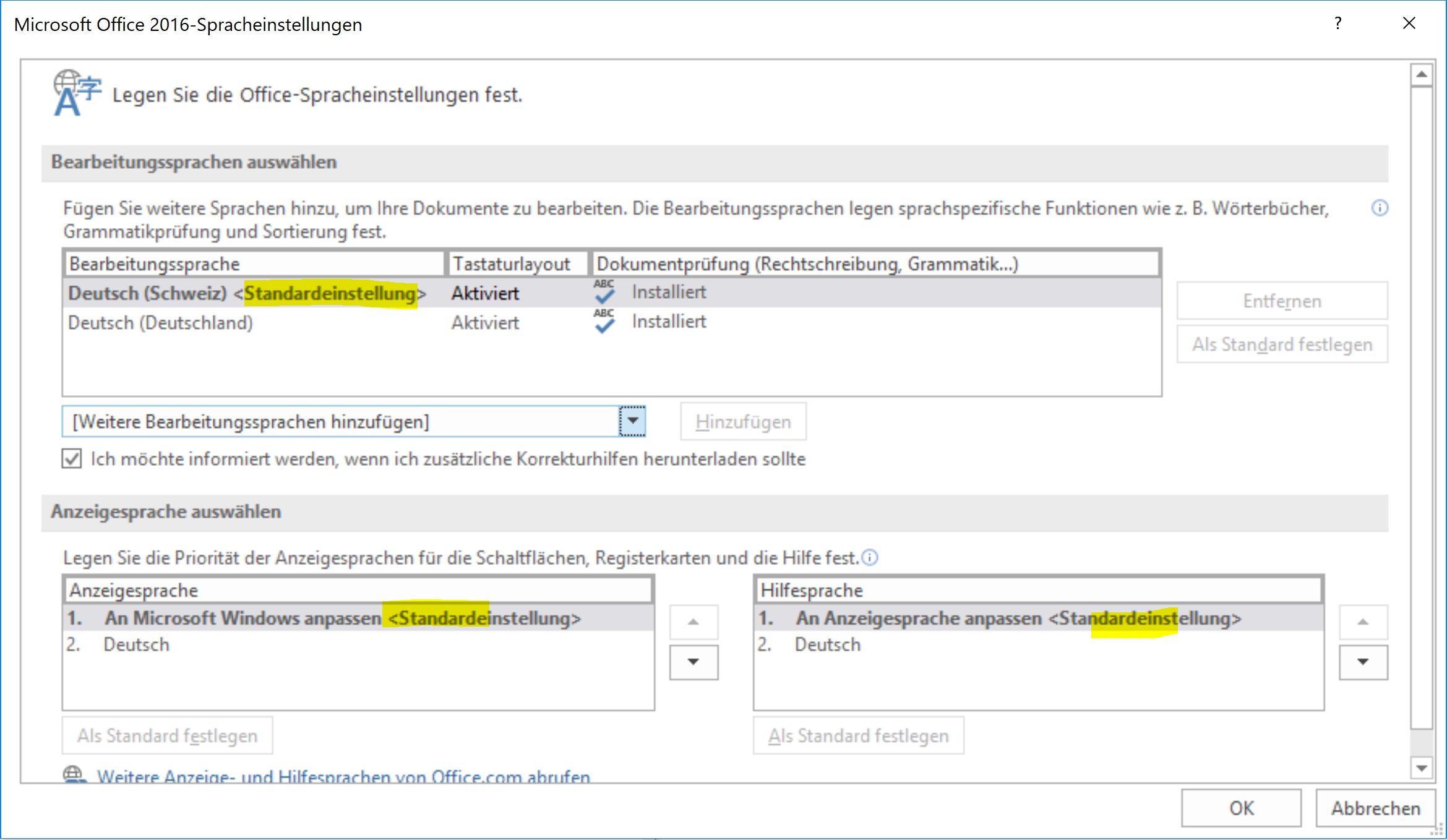 Microsoft Office 2016 - Spracheinstellungen
