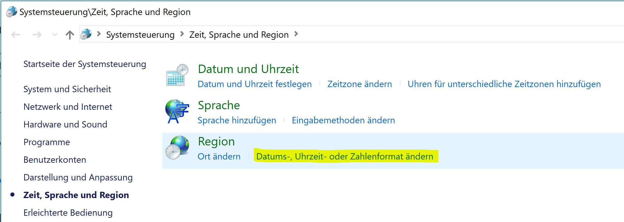 Region: Datums-, Uhrzeit- oder Zahlenformate ändern