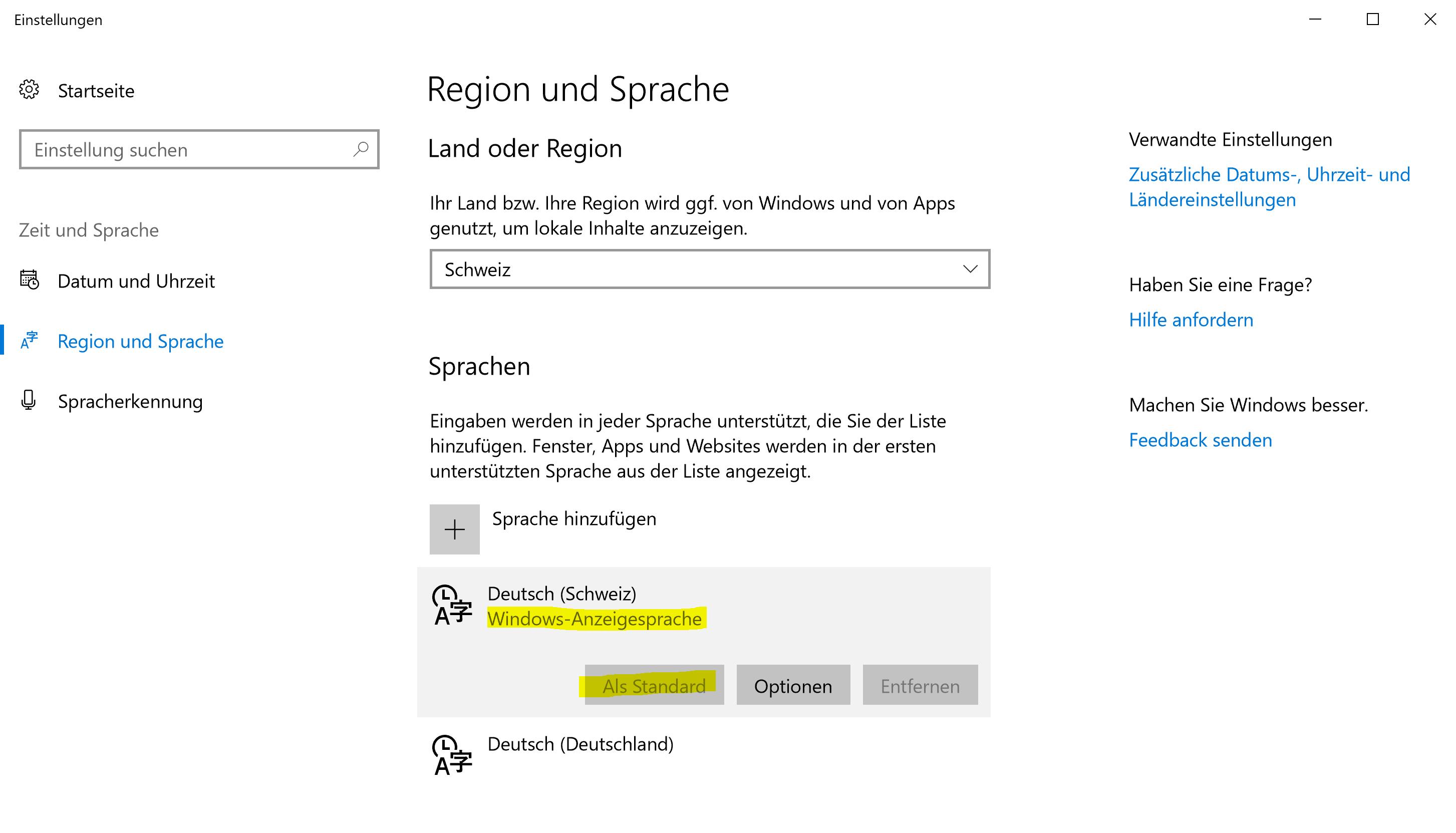 Region und Sprache: Windows-Anzeigesprache